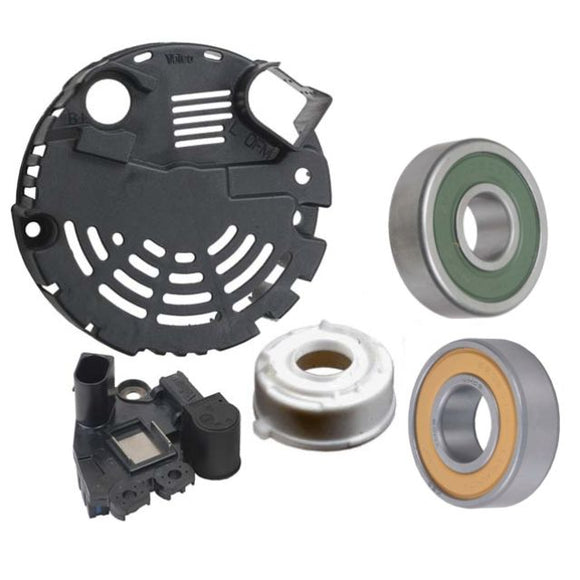 Alternator Repair Kit OEM Valeo Brand Voltage Regulator with Brushes 2542292, 593941, Bearing 593563 NSK, Bearing 593684 NSK, SRE Cover for Audi Volkswagen