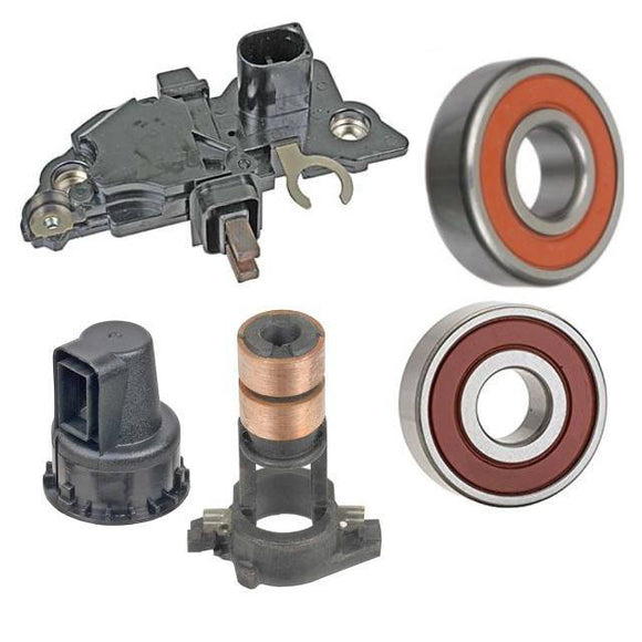 Alternator Rebuild Kit; Regulator, Brushes, Bearings 1999-2006 Volkswagen Beetle Golf Jetta for Bosch 70-120 Amp Options