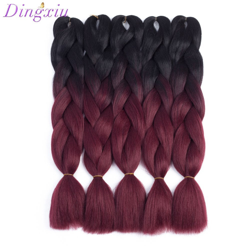 "Dingxiu (5Packs,24"") 2 Tone Jumbo Braid Ombre Braiding Hair X-pression Hair Extensions Afro Box Braids Crochet Hair Synthetic Fiber Hair 100g/pack(24 Inch, Black-Wine Red) - Arvonic"