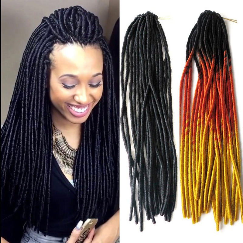 Snoilite 20inch 3pcs/lot Synthetic Dreadlock Braid Hair Extensions Ombre blonde faux locs hair dreadlocks crochet african hair