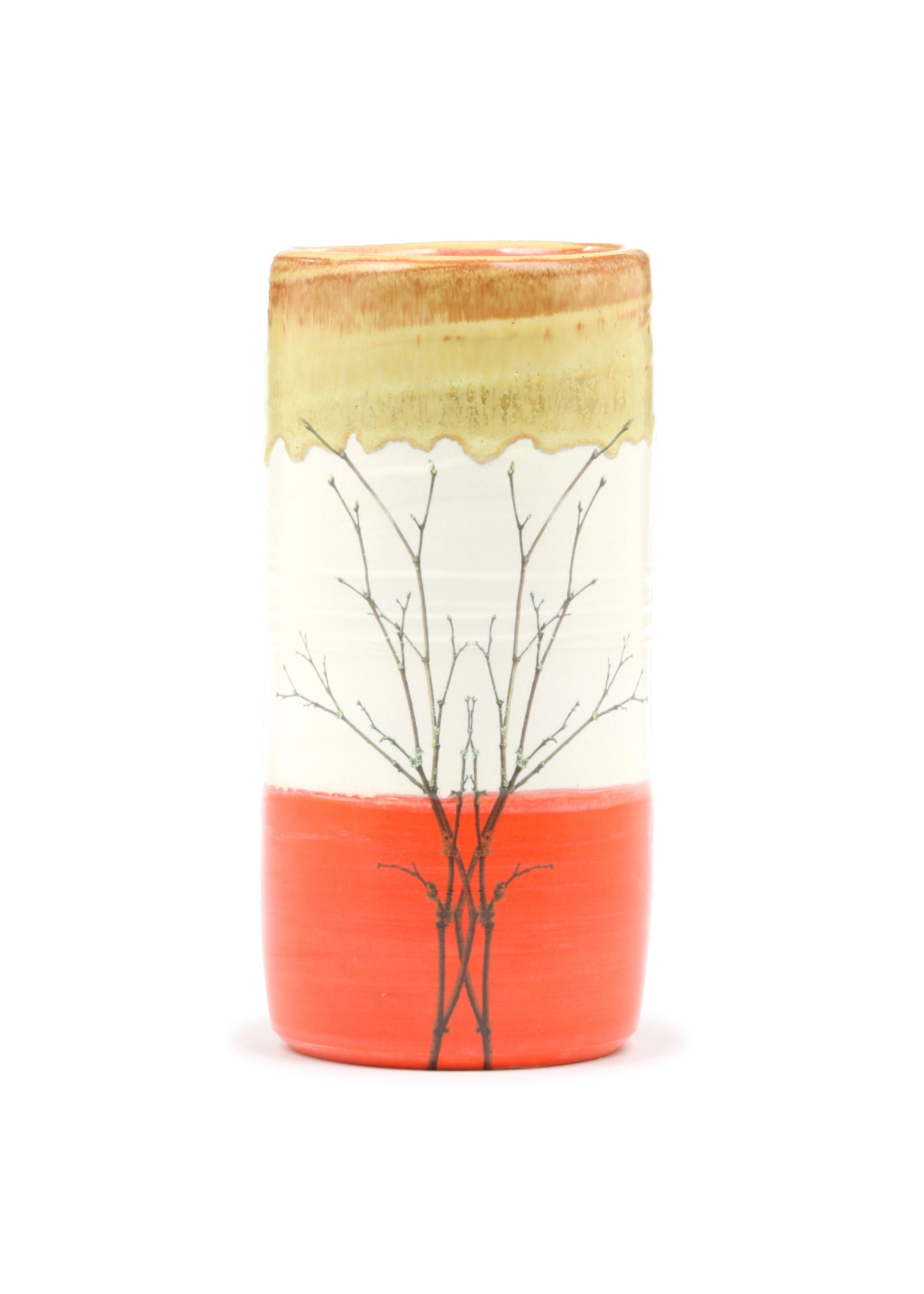 Flame Orange - Branch - Cylindrical Vase