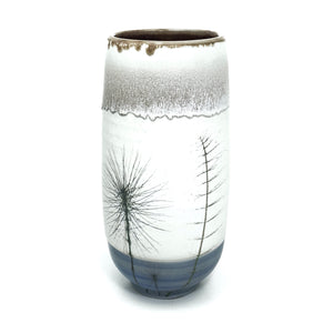 Horse Tail on White Cylinder with Blue Base