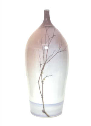 Blushed,  White & Lavendar Bottle with Thin Lichen Branch
