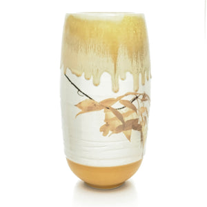 Large Porcelain Vessel with Golden Maple Leaves