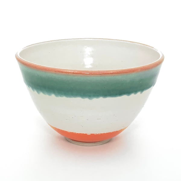 White Bowl with Orange Base and Green Rim
