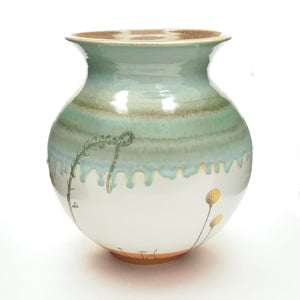 Large Open Porcelain Vase with Orange Base