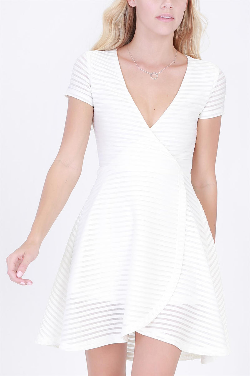 V-Neck with Short Sleeves Striped Dress in Ivory