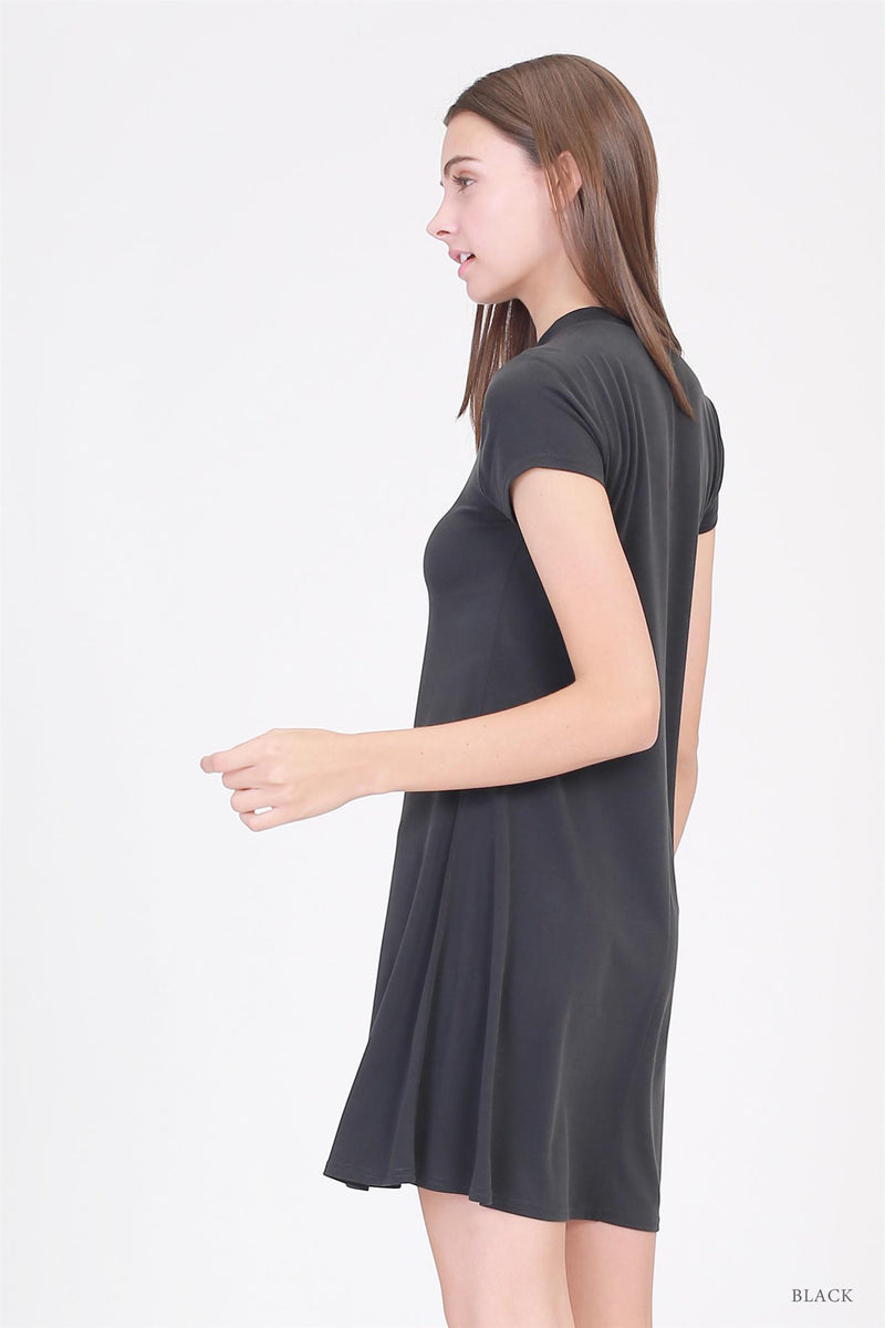 Mock Neck Mini Dress in Black
