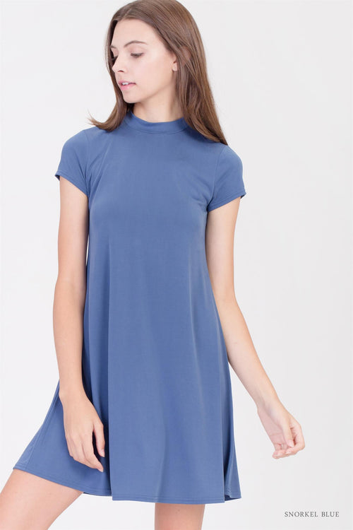 Mock Neck Mini Dress in Snorkel Blue