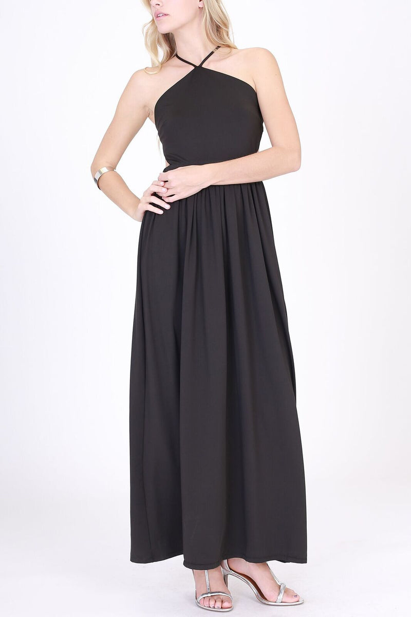 Halter Top with Spaghetti Strap Maxi Dress in Black