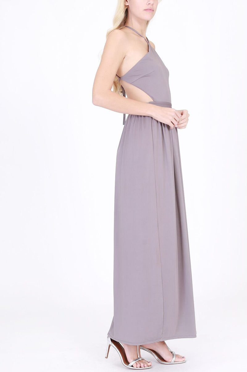 Halter Top with Spaghetti Strap Maxi Dress in Charcoal