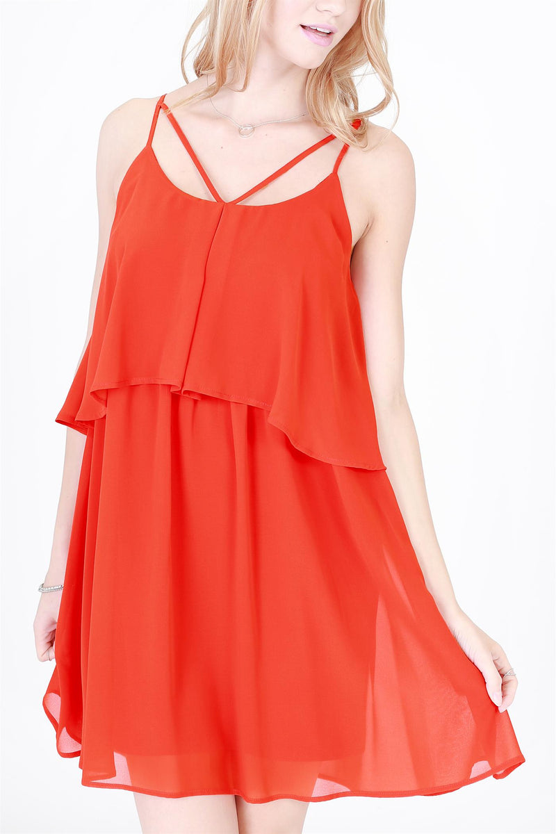 Red Orange Cami Dress
