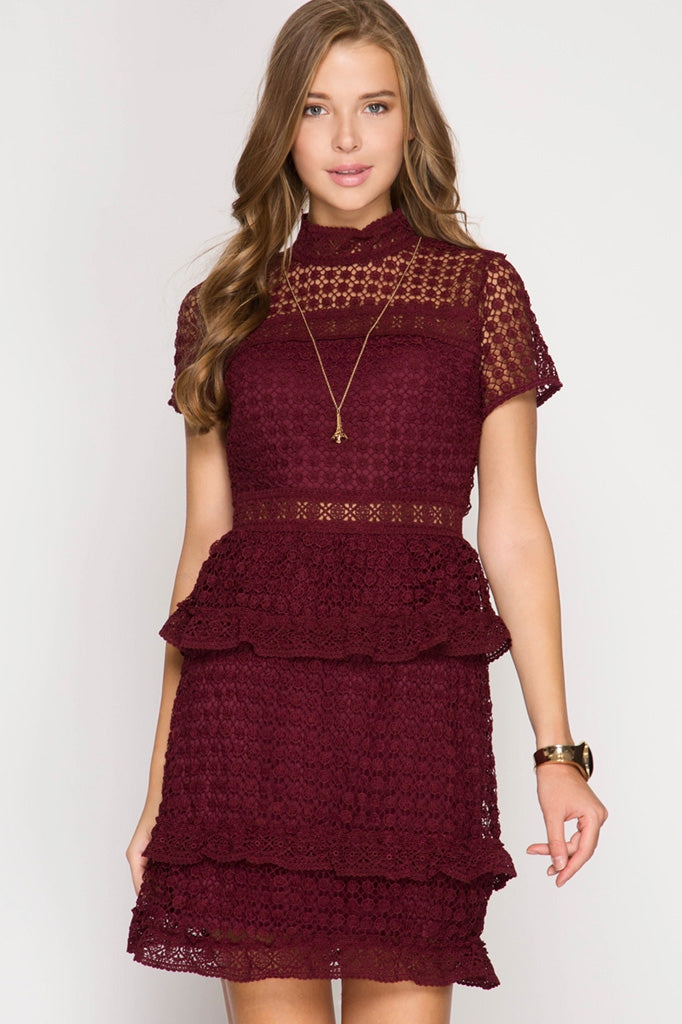 Short Sleeve Lace Dress in Burgundy
