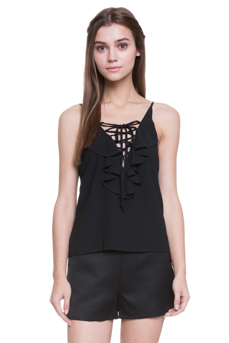 Ruffled V-Neck Sleeveless Top in Jet Black