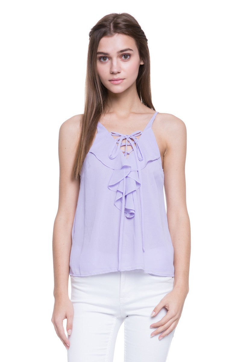 Ruffled V-Neck Sleeveless Top in Lavender
