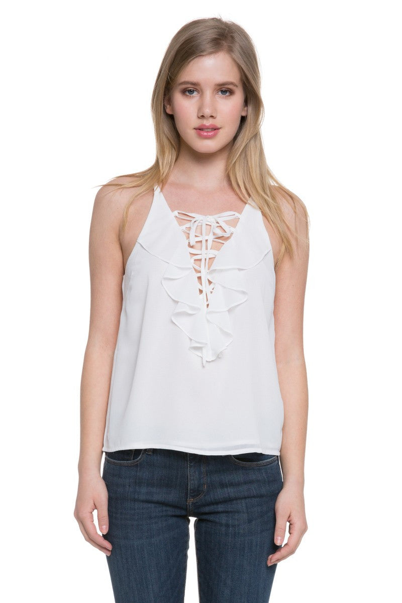 Ruffled V-Neck Sleeveless Top in Off White
