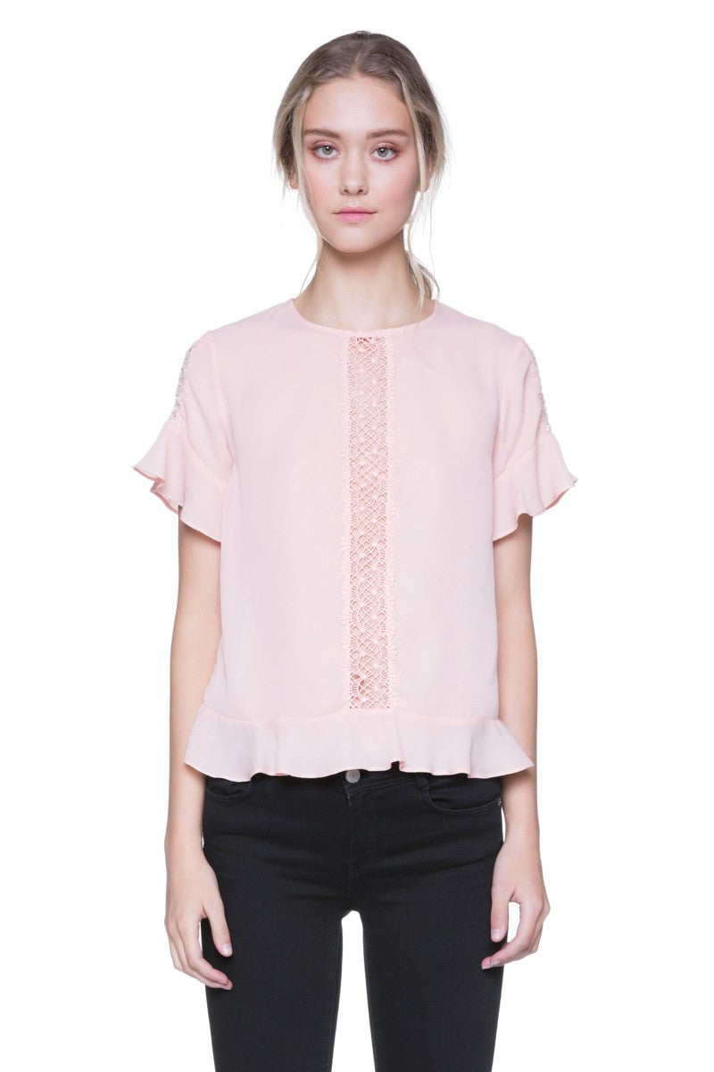 Woven Ruffled Top with Sleeves in Blush Pink
