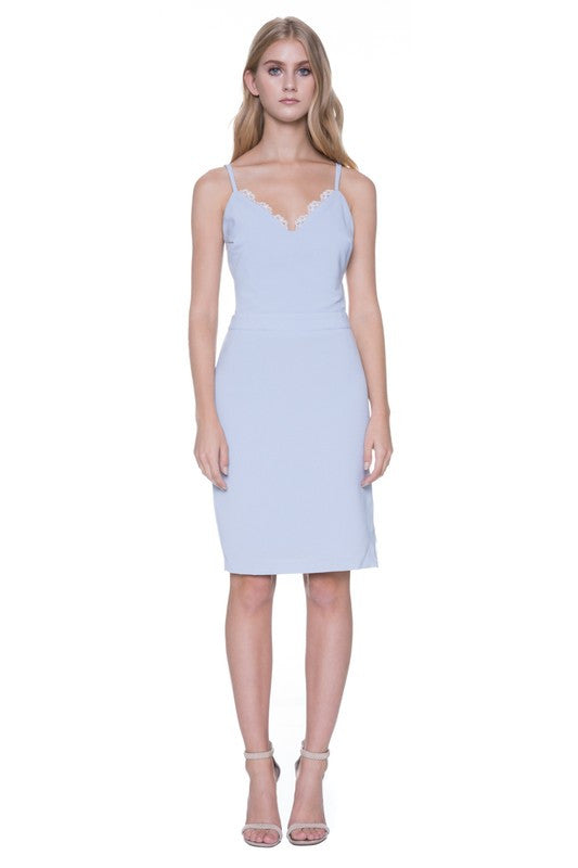 Victoria Powder Blue Dress with Side Slit