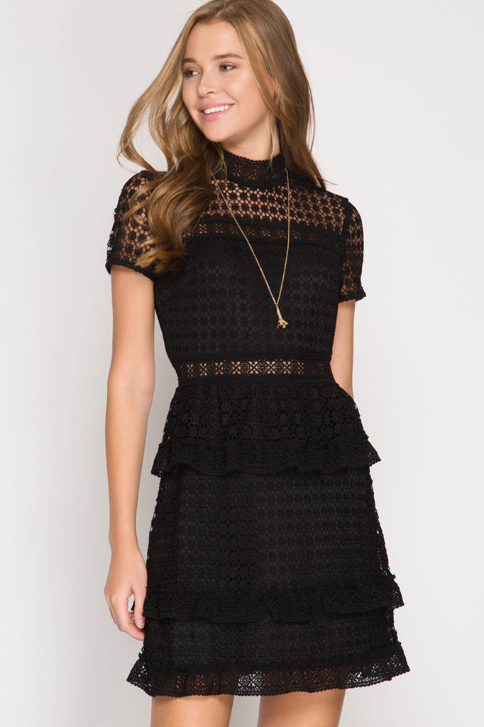 Short Sleeve Lace Dress in Black