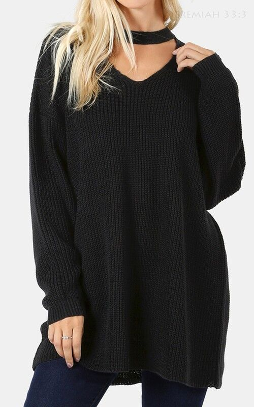 Oversized Tunic Sweater with Choker Neck in Black