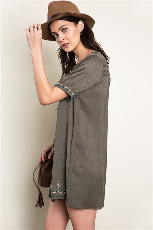 Embroidered Tunic Dress in Olive