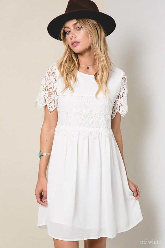 Lace Babydoll Dress in Off White