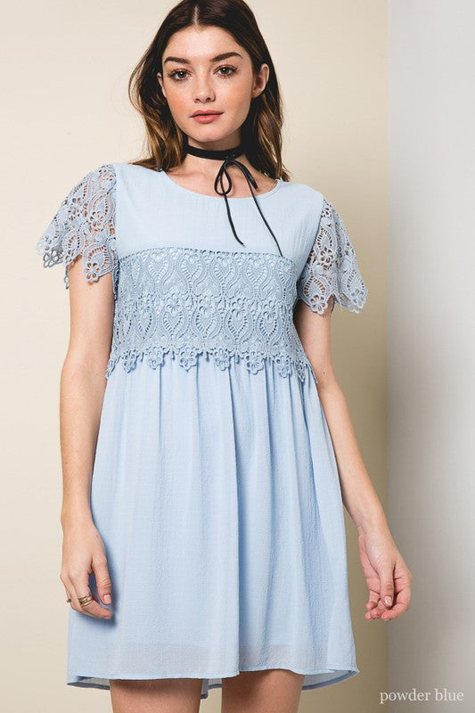 Lace Babydoll Dress in Powder Blue
