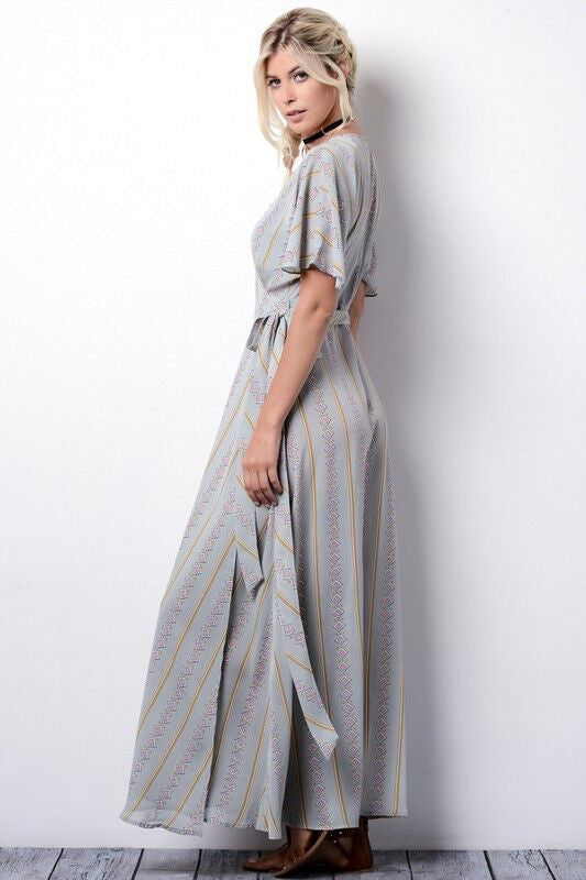 Kimono Wrap Style Long Dress in Sage