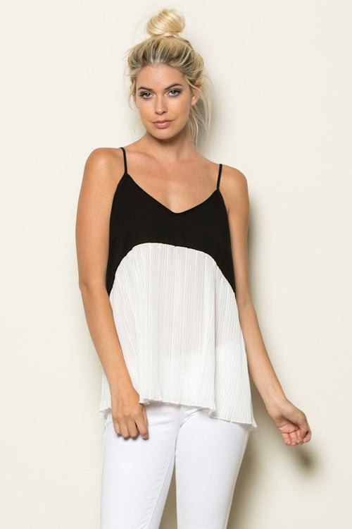 Relaxed fit color block tank top
