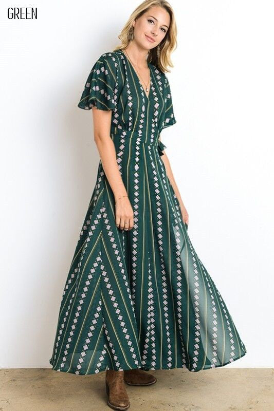 Kimono Wrap Style Long Dress in Green