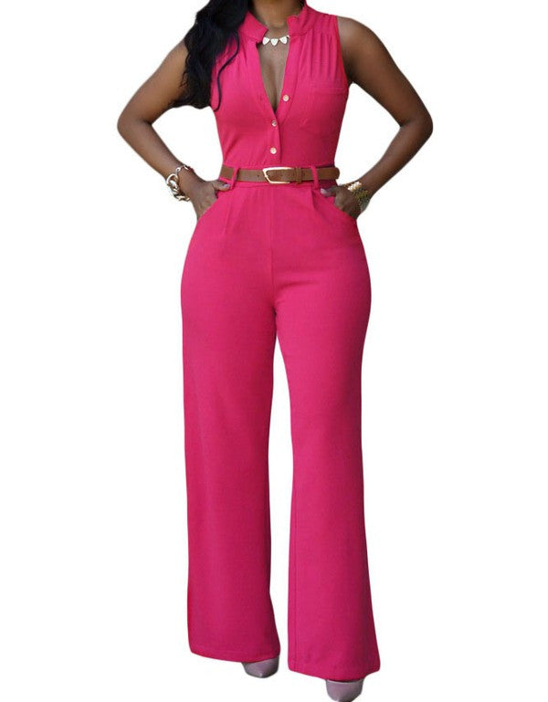 Belted Jumpsuit-Fuchsia