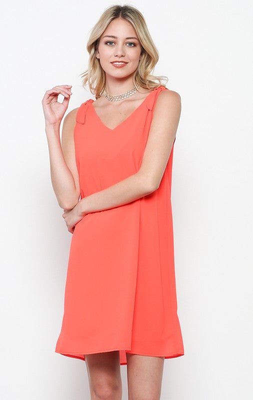 Soft Dress with V Back Cutout in Orange
