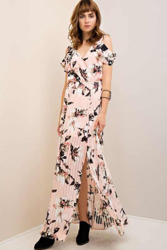 Floral Print Wrap-Style Maxi Dress in Blush