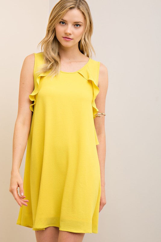 Soft Crinkled Sleeveless Shift Dress in Yellow