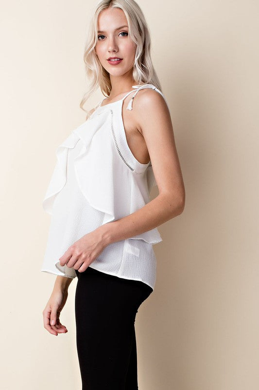 Ruffle Halter Top in Off White