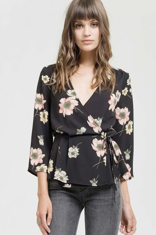 Crossover Floral Top in Black