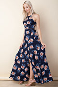 Halter Neck Trim Insert Printed Maxi Dress in Navy