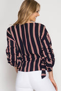 Striped Wrap Blouse in Navy
