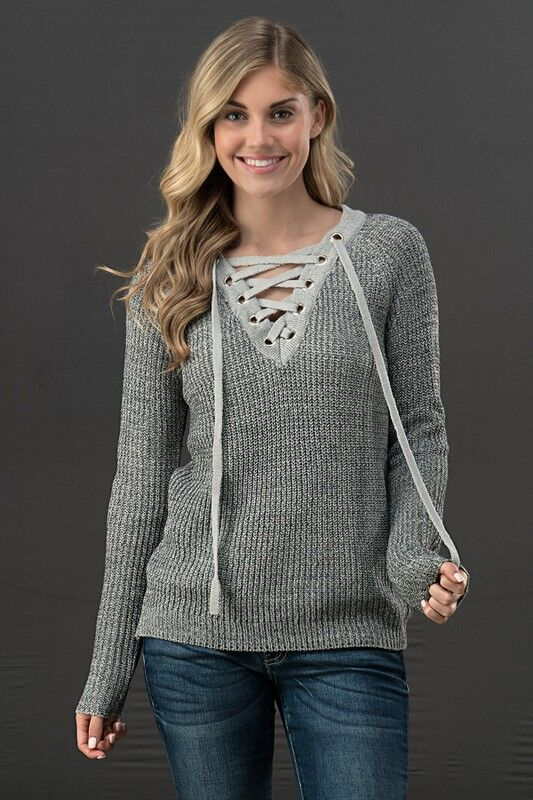 Knit Lace Up Sweater in Light Grey
