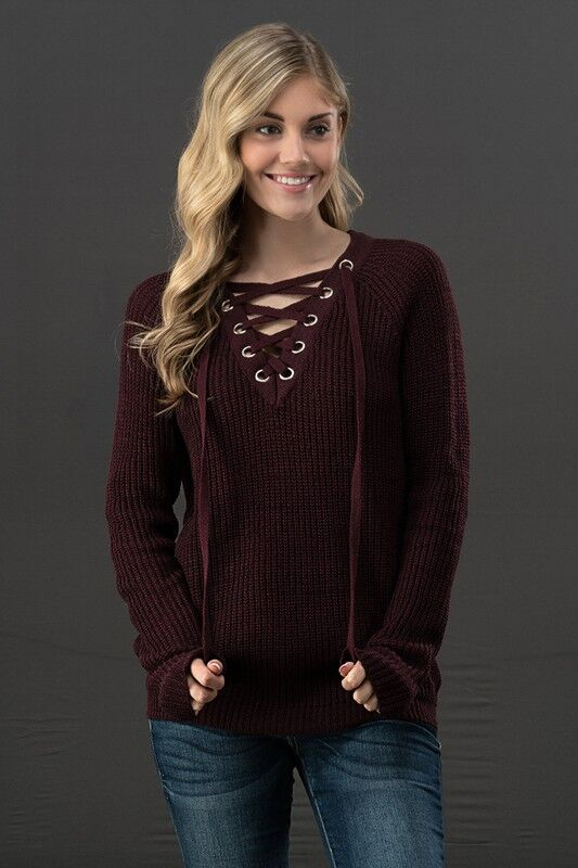 Knit Lace Up Sweater in Mauve
