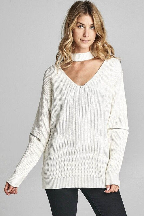 V-Neck Knit Sweater in White
