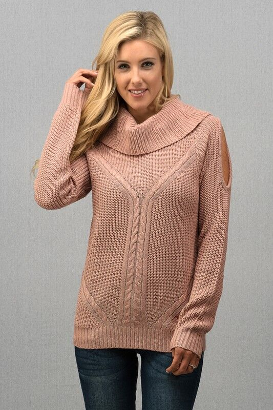 Wide Mock Neck Open Shoulder Sweater in Pink