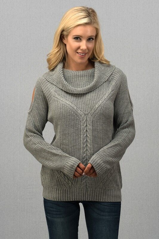 Wide Mock Neck Open Shoulder Sweater in Heather Grey