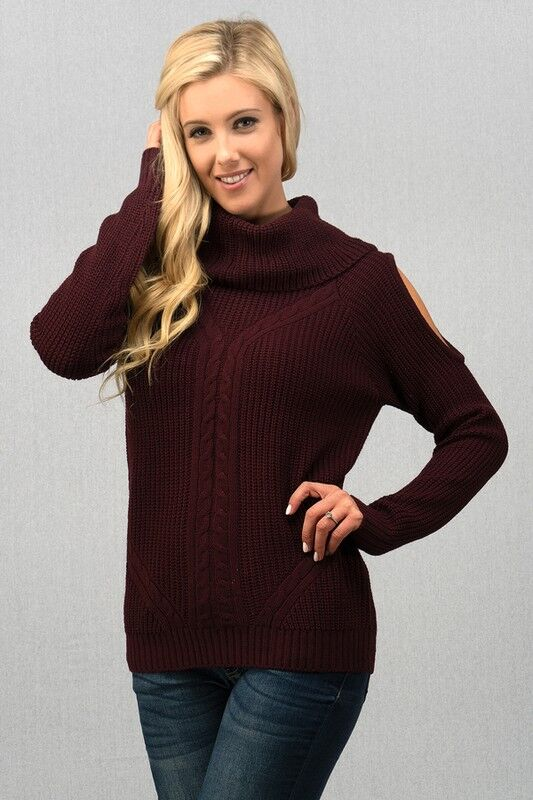 Wide Mock Neck Open Shoulder Sweater in Plum