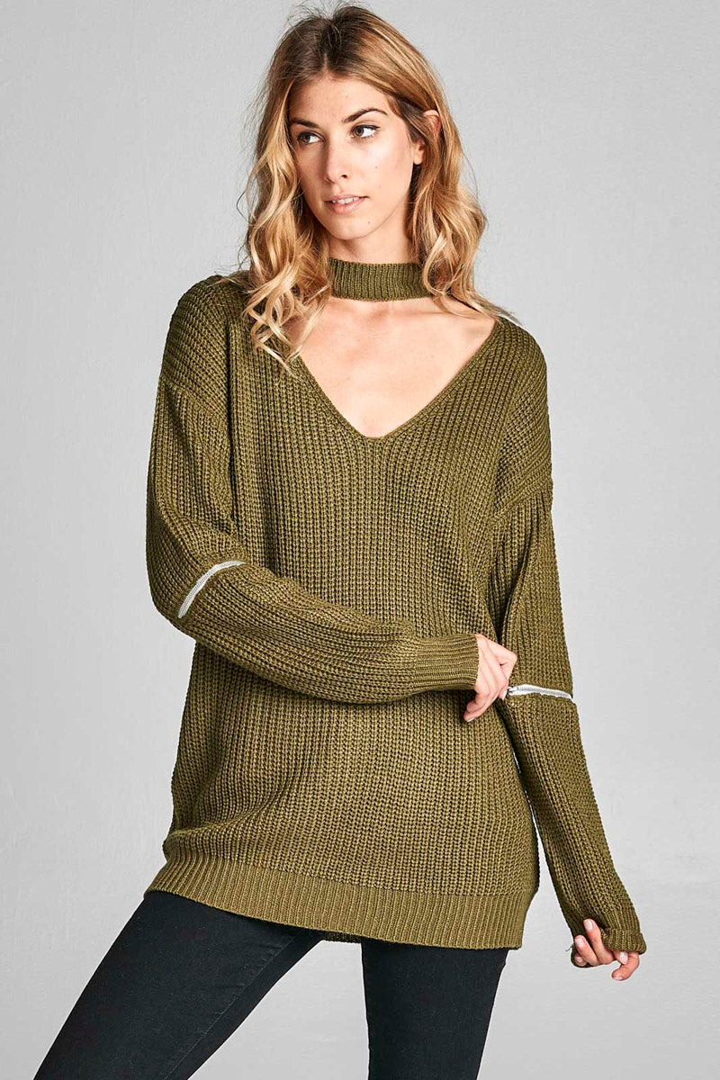 V-Neck Knit Sweater in Olive