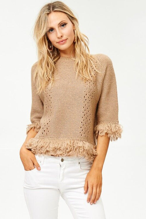 Fringe Knit with Eyelet Detail Sweater in Taupe