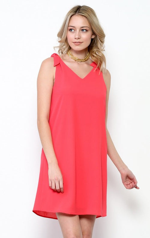 Soft Dress with V Back Cutout in Coral