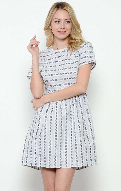 Embroidered Stripe Cotton Dress in White