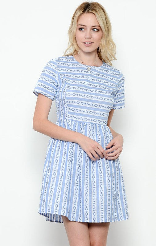 Embroidered Stripe Cotton Dress in Blue