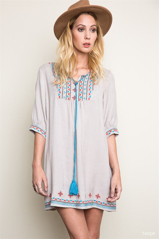 Embroidered Tunic Dress in Taupe